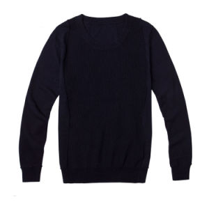 Classical Black Pure Color Knit Men Sweater pictures & photos