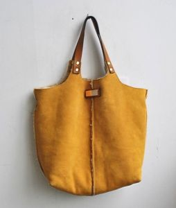 Cow Skin Suede With Fur Genuine Leather Hobo Bag