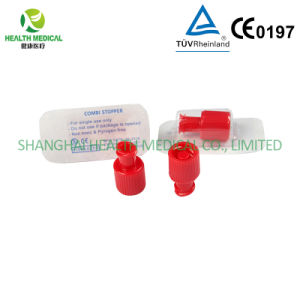 Red Combi Stopper in OEM Packaging, Enclosed Connector for IV Therapy