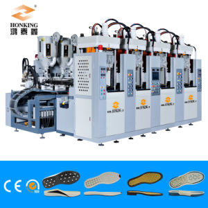 Automatic 2 Station 2 Screw Tr. PVC Soles Injection Machine pictures & photos