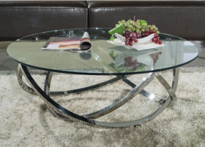 High Glossy Stainless Steel Glass Coffee Table for Home (CCT-025)