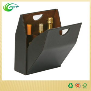 Wine Bottle Corrugated Cardboard Gift Box with Handle (CKT-PB-004)