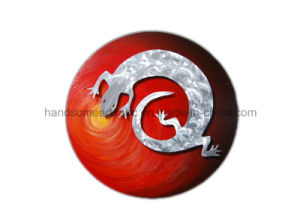 Lizard Design Circle Wall Art (Painting on Canvas with Aluminum Sculpture) pictures & photos