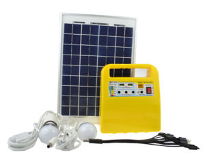 10W Solar Power System with 2 LED Bulb
