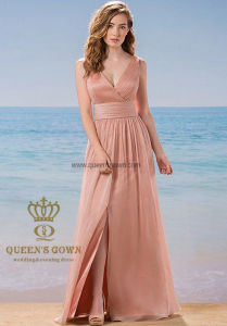 China Factory Sexy Chiffon Bridesmaid Dress with Split on Front