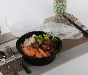 Simple Round Soup Bowl with Plastic Cover Disposable Fast Food Lunch Bowl 1000ml pictures & photos