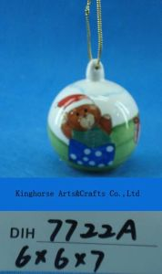 Christmas Tree Decoration Hand-Painted Ceramic Bear Bauble