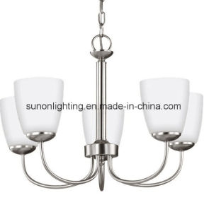 2017 Newest Plain Glass Brushed Nikel Chandelier with UL Approval