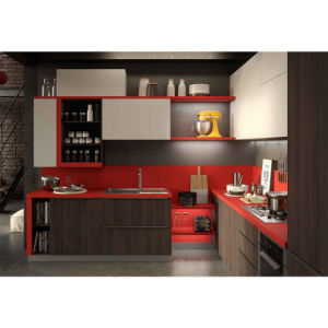 Grandshine Top Quality Modern Red Black Lacquer Kitchen Cabinets