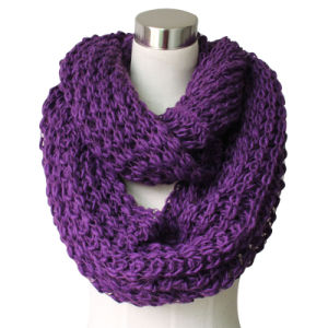 Lady Acrylic Knitted Purple Chunky Infinity Fashion Scarf (YKY4376-2) pictures & photos