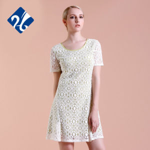 Latest Fashion Short Sleeve Summer Career Dresses Original Design Lace Lady Casual Dresses