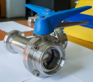 Stainless Steel 180 Degree Three Way Male Thread Butterfly Valve pictures & photos