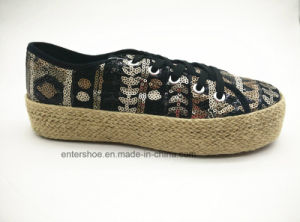 High Quality Casual Lace up Espadrilles Shoes with Glitter Upper (ET-FEK160123W)