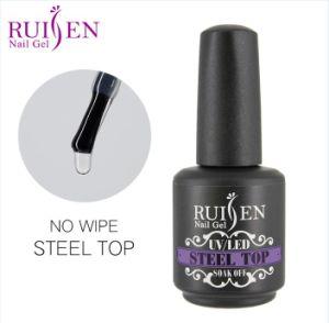 Ruisen Brand Factory Price 15ml No Wipe Steel Top Coat Gel Nail Uv Led Gel Poilsh Custom Logo