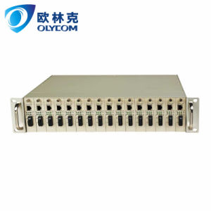 Fiber Media Converter Chassis 16 Solts Rack with Dual Power Supply