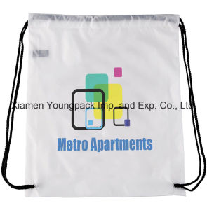 Cheap Custom Promotional White 210d Polyester Drawstring Backpack Bag pictures & photos
