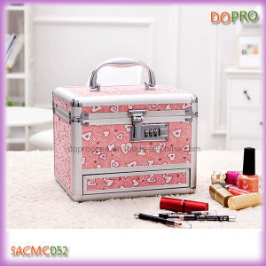 Cute Pink Small Makeup Case with Drawers and Mirror (SACMC052)