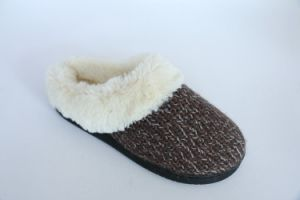 Women′s Warm Indoor Slipper with Long Plush Fur