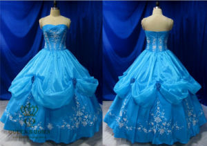 High Quality Embroidery Blue Prom Dresses. Princess Gown