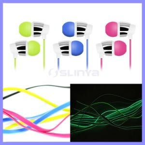 1.3m Glowing EL Wire Flash Luminous Earphone with Mic Volume Control for Samsung iPhone Earpod Headphone Headset pictures & photos