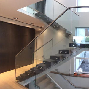 Single Stringer Straight Staircase with Tempered Glass Balustrade pictures & photos