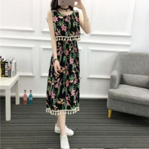 Flower Print Chiffon Tunic Beach Dress for Women pictures & photos