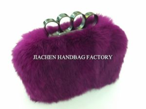 Italy Design Real Rabbit Fur Ladies Clutch Bags (F0873)