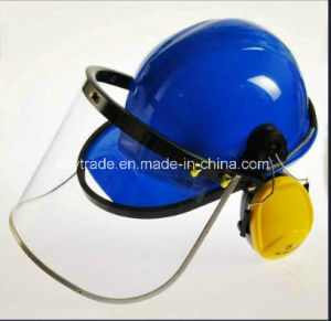 Chemical Industry Safety Helmet with PC Face Shield and Earmuff