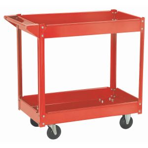 Red Two Shelf Steel Rolling Working Cart for Sale