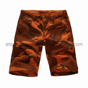 Orange Camouflage Printed 100% Cotton Men′s Shorts (FB65-3114) pictures & photos