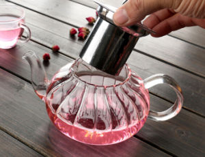 650ml New Design Nampkin Heat Resistance Glass Teapot pictures & photos