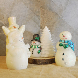 Christmas Ornament Snowman Shape LED Candle in Cordless Candle Warmer for Wholesale, 4 Pack pictures & photos