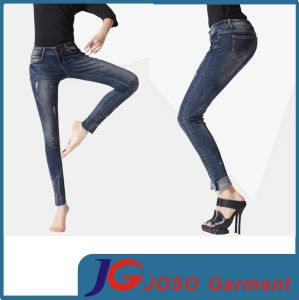 Girl Skinny Patch Jeans with Turns up (JC1180) pictures & photos