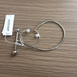 Simple Geometry Silver Plated Bracelet with Pearl Fashion Jewellery