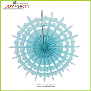 Light Blue Honeycomb Hanging Snowflake Paper Fan