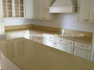 China Light Beige Artificial Quartz Stone Kitchen Top Kitchen