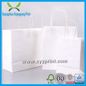 High Quality Custom White Kraft Paper Bag with Logo Print pictures & photos