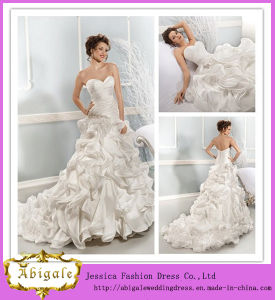 New Fashion White Floor-Length a-Line Sweetheart Court Train Organza Layered Wedding Dresses for Fat Woman