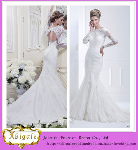 New Hot Elegant Mermaid Lace Keyhole Back Appliques Boat Neck Sweep Train Plus Size Long Sleeve Wedding Gowns Yj0034