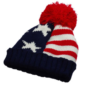 Ages 0-8 FuSi Childrens Winter Knitted Caps Striped Wool Warm Faux Fur Ball Caps Hat