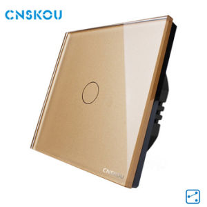 Cnskou Manufacturer Customizable EU Standard Glass Panel 1gang 2way Backlight Waterproof Wall Light Touch Switch Smart Home