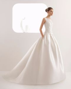 China Elegant Boat Neck With Pocket Lace And Satin Bridal Dress Wedding Gown China Wedding Dress And Dress Price,Stores To Buy Dresses For A Wedding