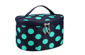 Handle Round DOT Large Cosmetic Bag Travel Makeup Organizer Case Holder  with Mirror