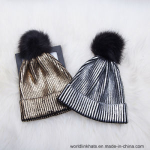 a22fdf26280 China Gold Stamp Winter Knitted Shiny Beanie Hats Cap Bling Beanies ...