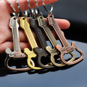 Customized Guitar Shape Metal Bottle Opener Key Chain for Wholesale