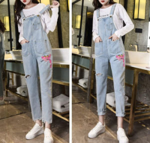5c3c5bcc316 New Women Overalls Cool Denim Jumpsuit Ripped Holes Casual Jeans Sleeveless  Jumpsuits Hollow out Rompers Ladies