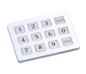 IP65 3X4 Rear Panel Mount Industrial Metal Numeric Keypad