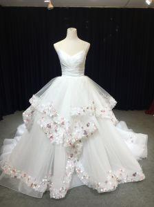 Aoliweiya White Pink Ball Gown Wedding Dress