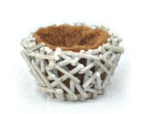 Manufacturer White Rattan Flower Pot with Coco Lining