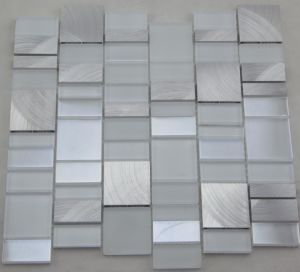 Aluminum Mix White Glass Mosaic Wall Tile (HGM391) pictures & photos